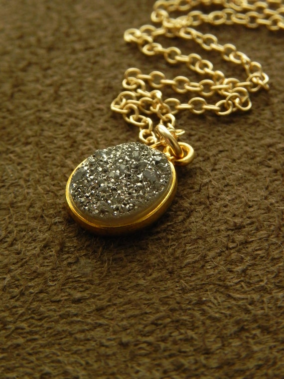 Gunmetal Grey Druzy Agate Vermeil Pendant and Gold FIlled Chain Necklace - Small