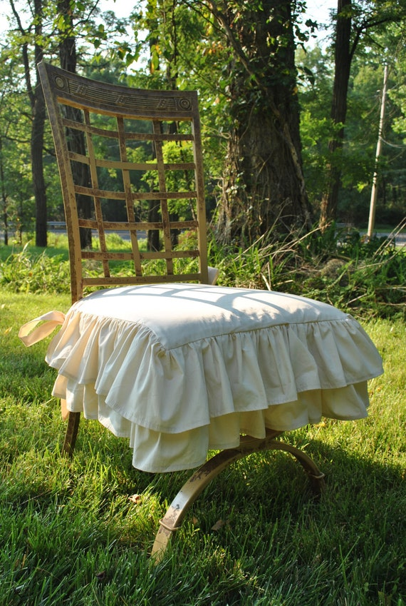 Ivory Ruffle Chair Cover