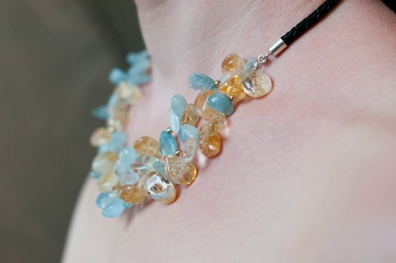 Petals - Citrine and Aquamarine necklace citrine yellow blue leather cord handmade in Israel
