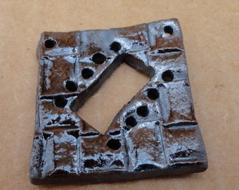 Pottery Piece for Weaving Mini Loom Make a Necklace, Rectangular Loom Style