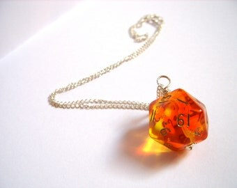 D20 dice pendant neon orange pink red transparent geek gamer DnD role playing RPG dice jewelry dice necklace translucent