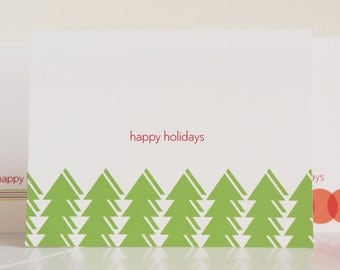 Holiday Card Set Stationery Modern Christmas Tree Cards