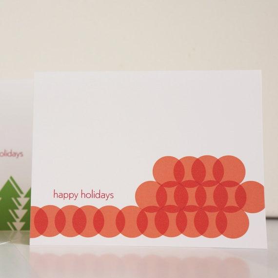 Box of 8 Holiday Card Modern Red Geometric Pattern Stationery