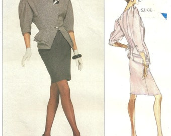 Vogue 2309 Jacket Skirt Emanuel Ungaro Paris Original jacket cut on 10 skirt cut on 12 1989 Vintage Pattern SALE 1/2 off