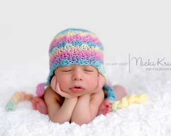 Crochet Newborn Photo Prop, Crochet Ear Flap Hat, Photo Prop, Holidays, Christmas