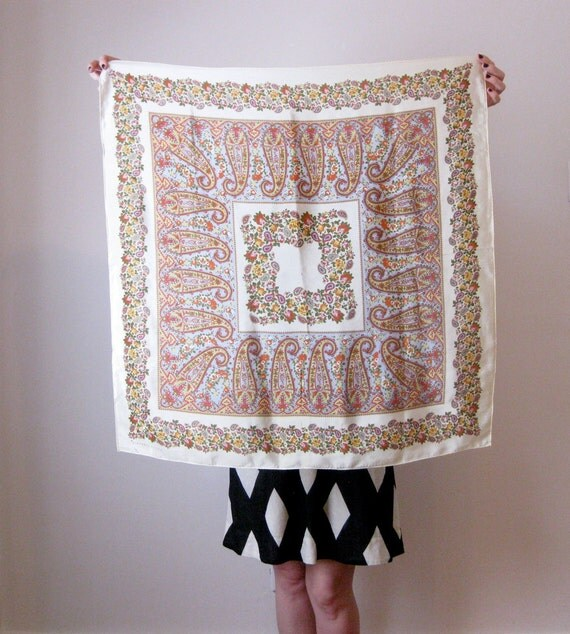 70s Hattie Carnegie silk scarf // paisley and florals