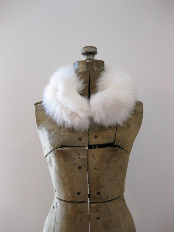 vintage 50s white fox fur collar