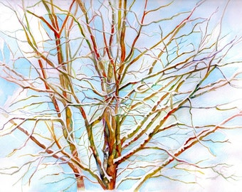Art Print Branches in Maine (Winter) From Original Watercolor, Tree painting, Springtime, watercolor art, nature painting, landscape