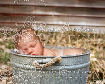 File 401 Country Bushel Basket for Newborn or Child Digital Photography Prop Background
