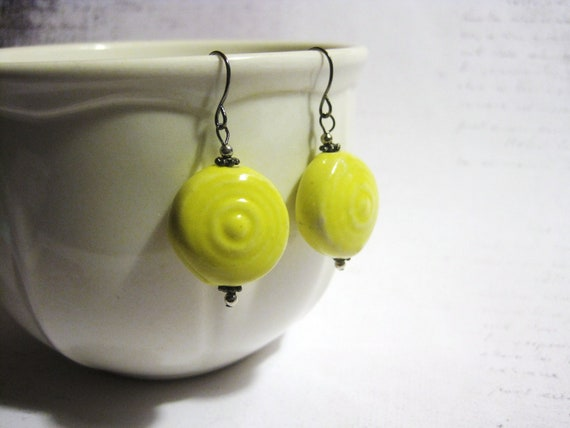 "SALE - Earrings - Bright Yellow Porcelain - Dangle - ""Put Your Hands Up"""