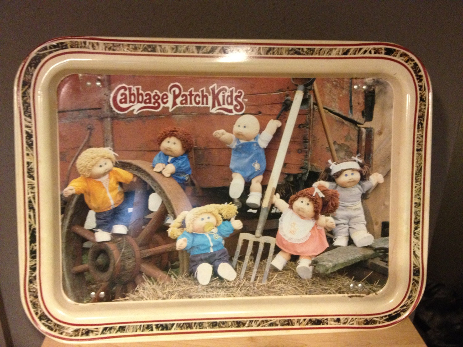 cabbage patch kids tv tray  1984 retro by withlovelouise on etsy