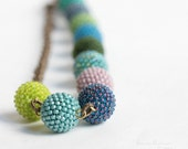 Green and Blue Beaded Beads Necklace Beadwork Jewel