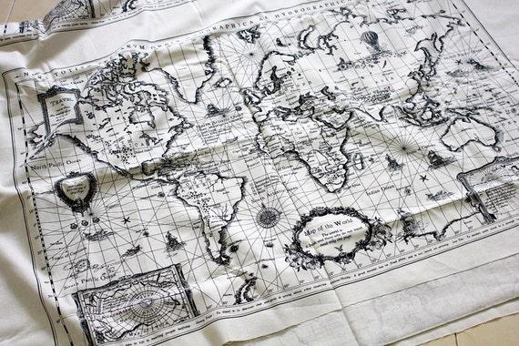 Panel Cotton Linen Fabric - Vintage World Map 140 cm  x 75 cm (55 x 29.5 inches)