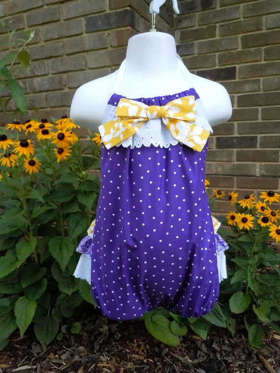 LSU purple and yellow romper, sun suit