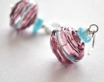 Purple  Glass Earrings -Hollow Light Weight Dangle on Sterling Silver