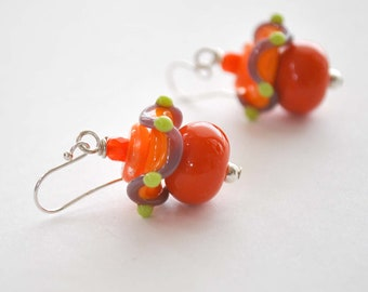 Orange Earrings, Bright Colorful Earrings, Lampwork Glass Earrings, Glass Bead Earrings, Orange Ruffle Disc Earrings