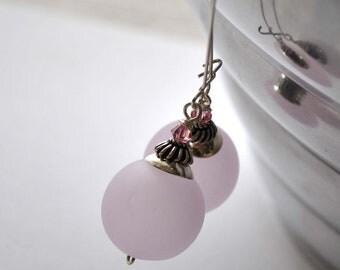 Large Matte Pink Glass Earrings, Light Weight Hollow Blown Glass, Long Dangle Earrings, Pale pink earrings