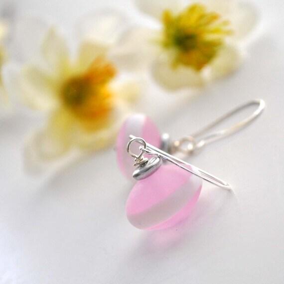 Pink Stripe Glass Earrings