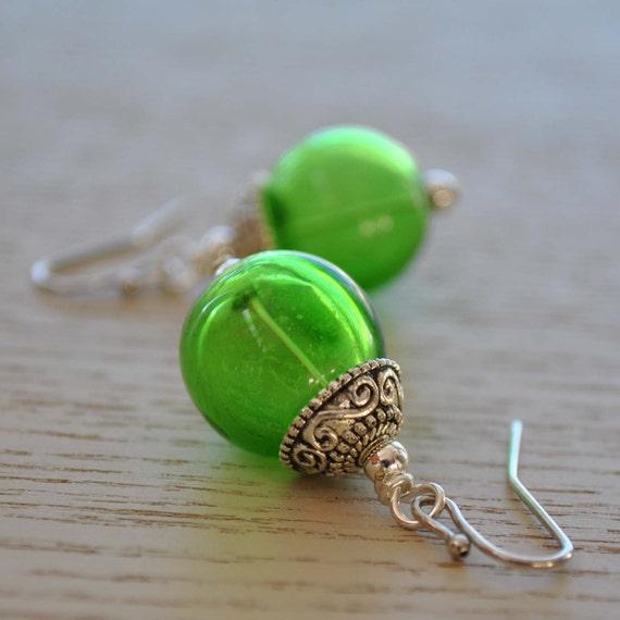Grass Green Hollow Glass Earrings