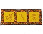 Autumn -Themed Table Runner for High Holy Days  Quilted and Embroidered