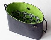 Small lime green and dark gray shoulder bag ... OOAK ... grey crossbody purse ... vintage button ... organic vegan cotton purse
