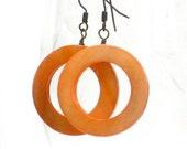 SALE Orange Earrings, Pumpkin, Big Hoops, Tangerine, Autumn, Harvest, Fall Fashion, Bold Statement, Gift Under 15