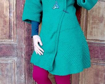 Emerald wrap woolen coat