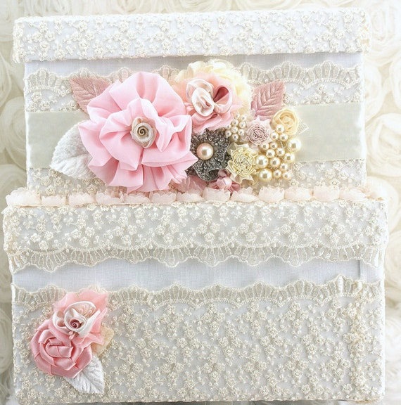 Bridal Card Box Keepsake Wedding Card Box in Ivory and Light Pink with Lace and Pearls