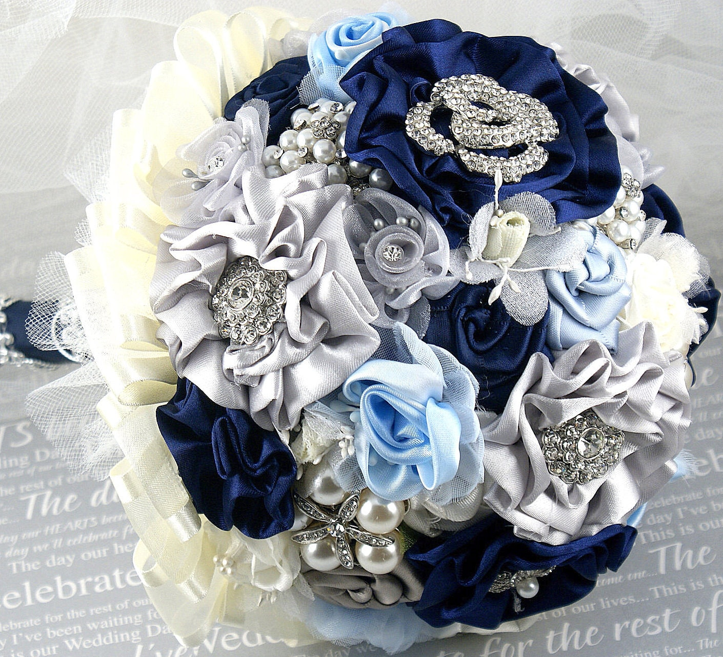 Navy Blue And Silver Wedding Ideas: Brooch Bouquet Wedding Bouquet Navy Blue Ivory Silver By