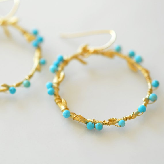 Gold Turquoise earrings, Turquoise hoop earrings, Turquoise Beaded hoop earrings, Large hoop earrings, Turquoise and gold earrings, Boho