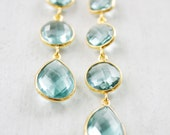 Gold Teal Blue Quartz Earrings - Something Blue - Shades of Summer