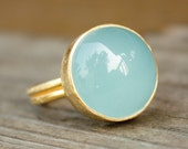 Blue Chalcedony Ring - Round - Adjustable Ring, Aqua Blue, Minty