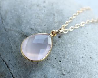 Simple Pink Rose Quartz Teardrop Necklace - Gemstone Necklace - 14KT Gold Fill