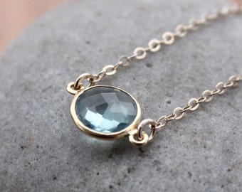 Gold Teal Quartz Necklace - Simple Bezel Necklace - Mini Pendant