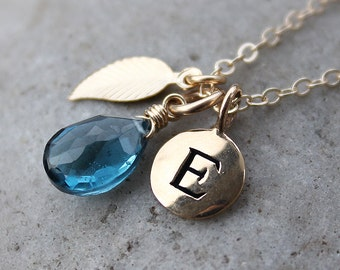 London Blue Topaz Initial Charm Necklace - December Birthstone - Birthstone Necklace