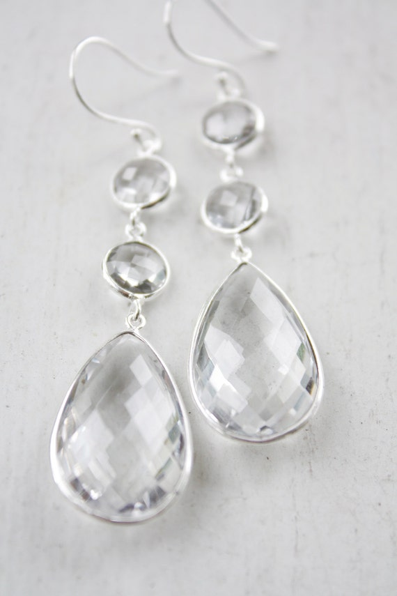 Silver Crystal Quartz Bridal Earrings - Summer Weddings - For the Bride