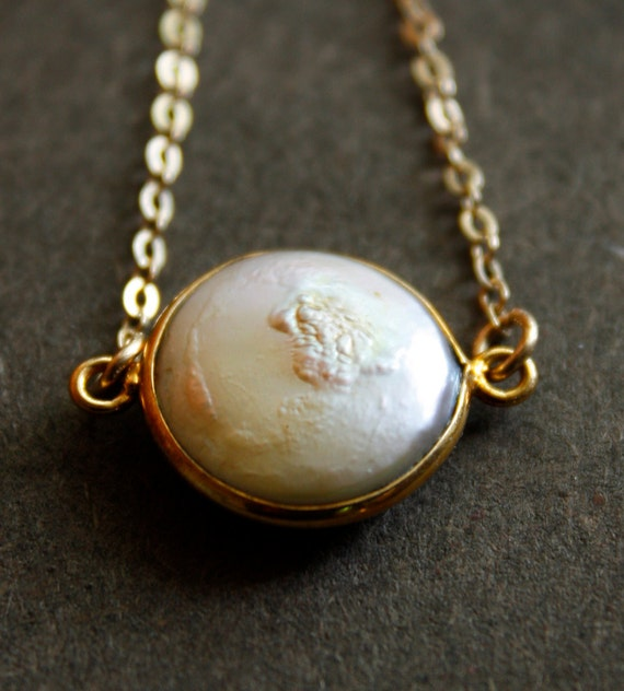 Sale: Gold Pearl Necklace - Button Pearl - 14KT Gold Fill