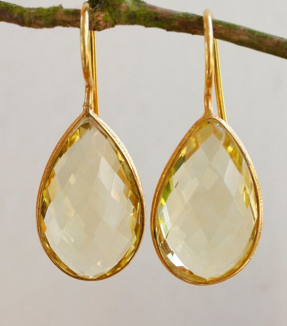 Gold Yellow Lemon Quartz Earrings - Lemon Drops - Summer Weddings