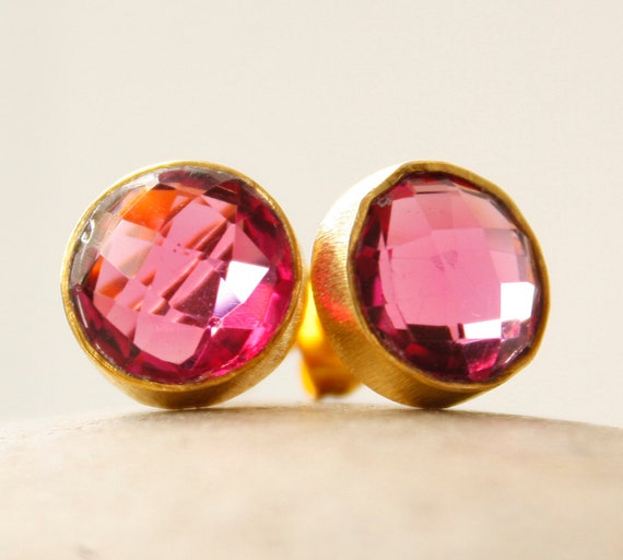Gold Red Ruby Quartz Stud Earrings - Cranberry Red - Post Setting, Pink tourmaline