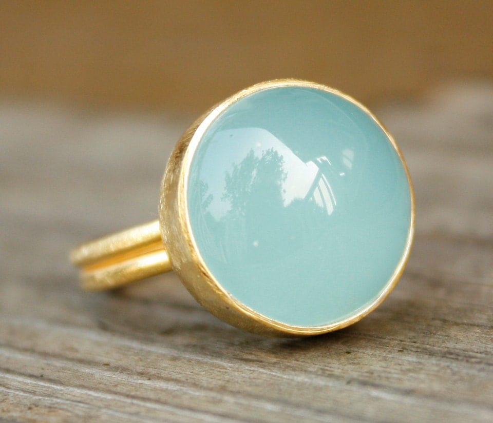 Blue Chalcedony Ring Round Adjustable Ring Aqua Blue