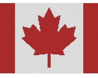 Canadian Flag Cross Stitch Printed Pattern