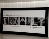Letter Photography- Personalized Alphabet Photo Letter Art 10x20- Black and White- UNFRAMED Name- Wedding