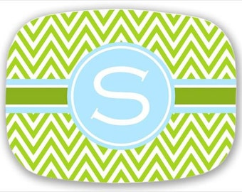 Personalized Melamine Platter--Chevron Stripe with Custom Colors and Monogram