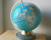 Vintage Ohio Art Metal World Table Top Globe the Earth with Zodiac Signs from Early 1970s.