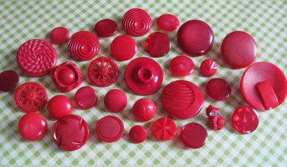 Assorted Vintage Red Plastic Shank Buttons