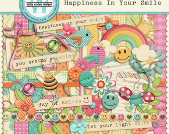 Happiness In Your Smile Digital Scrapbooking Kit