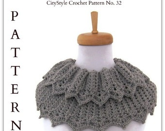 Crochet Pattern Collared Cowl, Capelet, Shoulderette / Womens Crochet Cowl Pattern PDF / Fall, Winter Accessories / Instant Download PDF