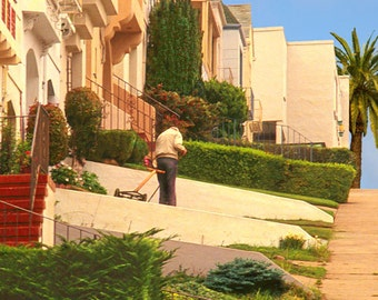 The Manicurist - by Victor Bosson, gardener, San Francisco, architecture, summertime, warm colors, art print