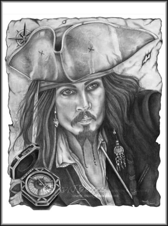 Reserved Artwork Johnny Depp Captain Jack Sparrow Drawing Charcoal Graphite Signed