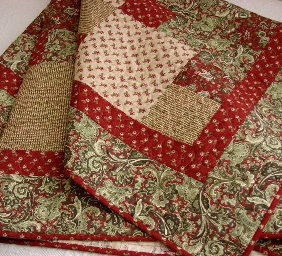 Christmas Patchwork Lap Quilt Red And Green Moda Sentiments